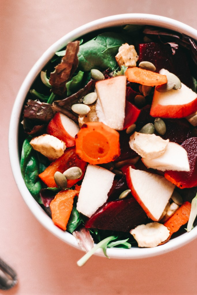 Fall Harvest Salad With A Tangy Honey Mustard Dressing