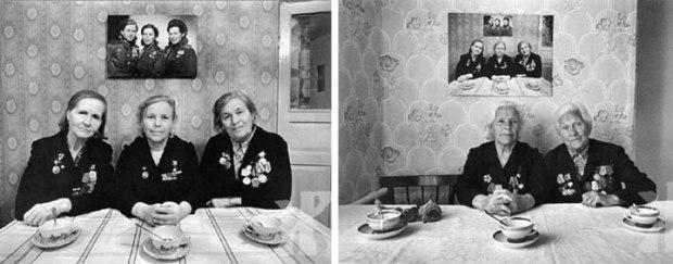 Des soeurs posent pour la même photographie à trois reprises, à des années d'intervalle. Sur la dernière, la troisième soeur ne faisait plus partie de ce monde.