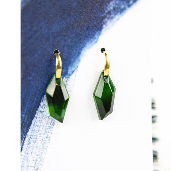 Resin Earrings Gold Green