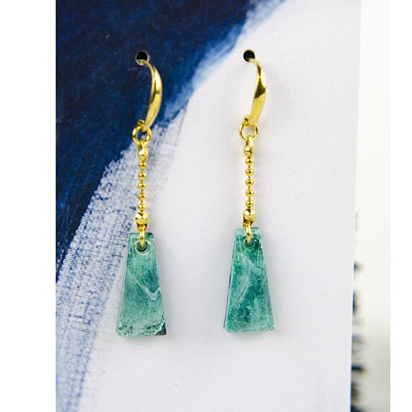 Resin Oorbellen Goud Lang Turquoise