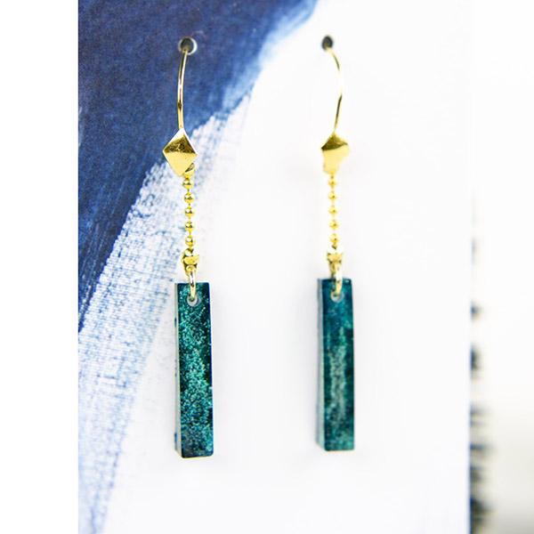 Resin Oorbellen Goud Lang Turquoise 3-4-5