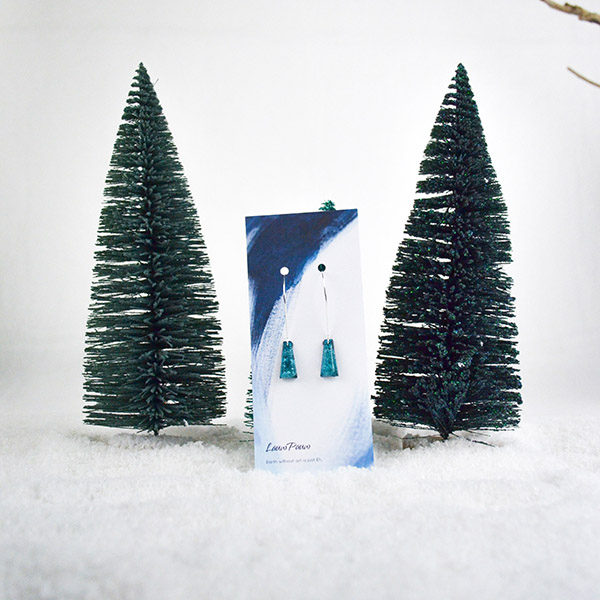 Resin Oorbellen Zilver Klein Turquoise