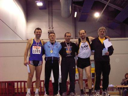Nach der Siegerehrung Dreisprung M 50 v.l.n.r.: Jochen Meyer, Arno Küppers,Mario Renner, Joachim Hickisch, Ludger Ammerich