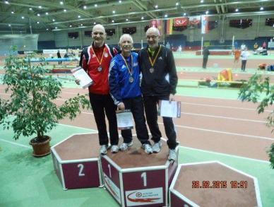 Siegerehrung 200m M65 – Rudolf König, Reinhard Michelchen, Helmut Meier