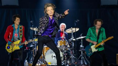 (FILES) In this file photo Ronnie Woods, Mick Jagger, Charlie Watts, and Keith Richards perform onstage as The Rolling Stones bring their 'NO FILTER' Tour at NRG Stadium on July 27, 2019 in Houston, Texas. - The Rolling Stones on April 23, 2020 released their first new original music since 2012, a single aptly named