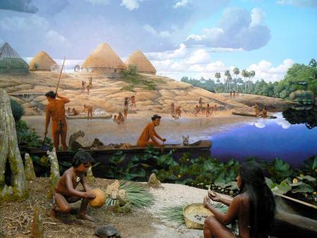 Diorama de la vida precolombina en La Florida, en el Museo de Historia de Florida