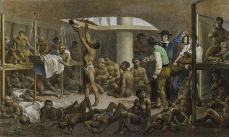 Imagen representando el interior de un barco de esclavos.