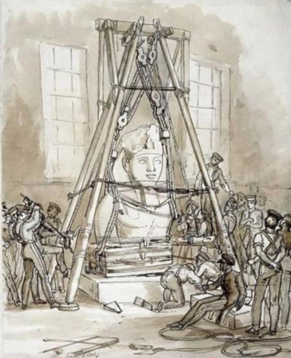 Instalación del busto de Ramsés II en el British Museum. Dibujo de 1834.