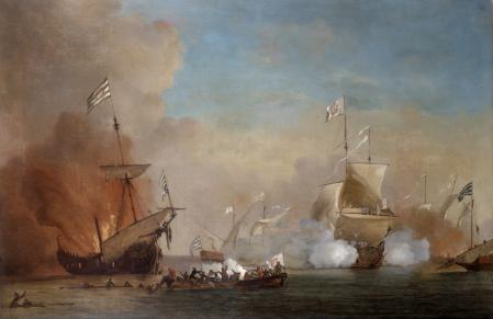 School of William Van der Velde 1663-1707. Pirates attack an English Warship. Oil on Canvas. (Photo by: Universal History Archive/Universal Images Group via Getty Images)
