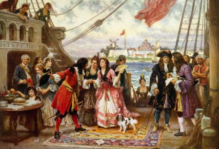 Captain Kidd in New York Harbour by Jean Leon Gerome Ferris. Captain William Kidd welcoming a young woman on board his ship; other men and women crowd the deck as another woman steps aboard. (Photo by: Universal History Archive/UIG via Getty images)