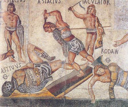 Un retiarius ataca a un secutor derribado. Mosaico de la Villa Borghese, Roma, c. 320