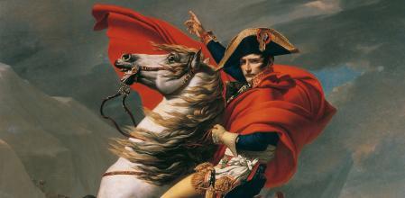 Retrato de Napoleón Bonaparte titulado 'Napoleón cruzando los Alpes', de Jacques-Louis David.