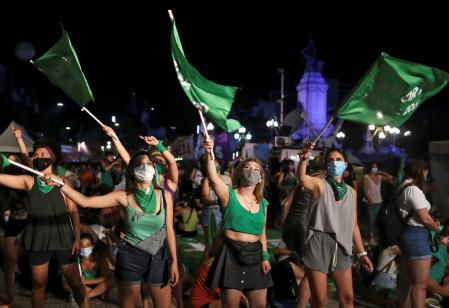 Demonstrators in favour of legalizing abortion attend a rally as the senate debates an abortion bill, in Buenos Aires, Argentina, December 30, 2020. REUTERS/Agustin Marcarian