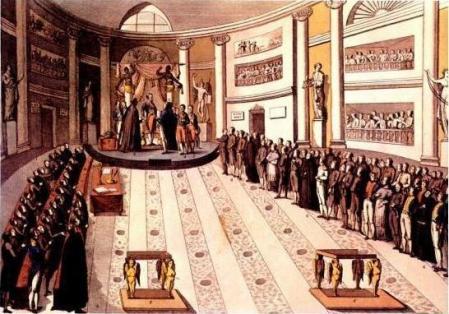 Jura de la Constitución de 1812 por Fernando VII de España en la sesión inaugural de las Cortes del Trienio Liberal.