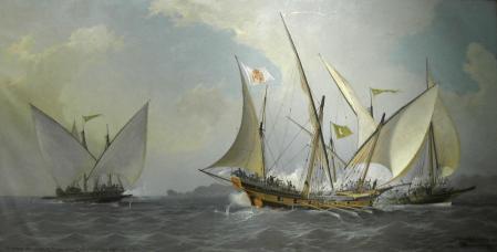 Jabeque español frente a dos galeotas corsarias argelinas.
