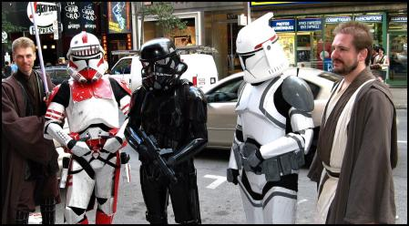 Star Wars fans dressed as movie characters.