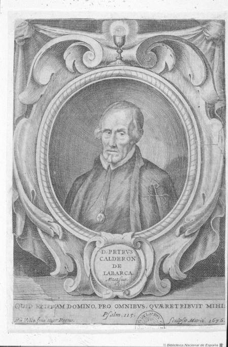 Retrato de Pedro Calderón de la Barca, grabado calcográfico.