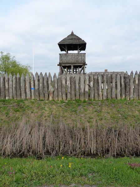 Línea de defensa escita 339 a. C. reconstrucción en Polgár, Hungría.