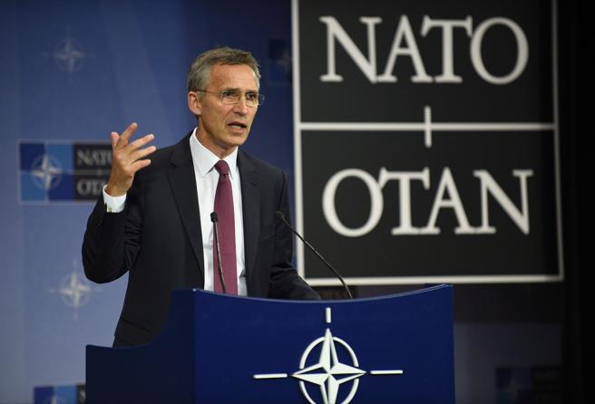 El secretario genral de la OTAN, Jens Stoltenberg, durante una comparecencia de prensa en Bruselas el pasado año