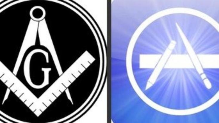 La escuadra y el compás másonico y la imagen de la tienda virtual de Apple