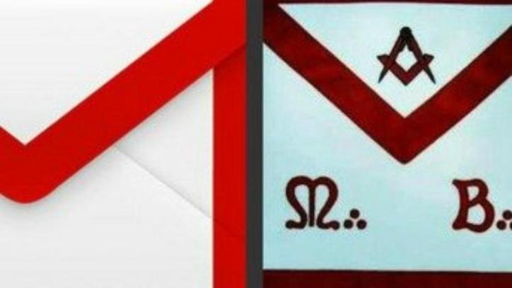 El símbolo de Gmail y un típico mandil masónico