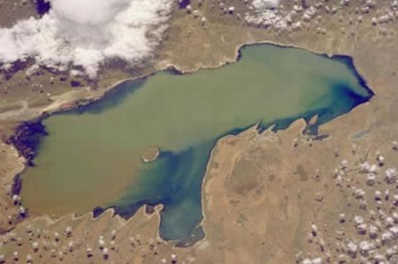 Vista aérea del lago Poopó (Bolivia), antes de desecarse