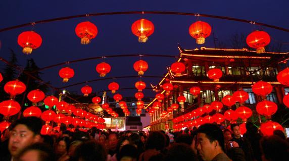 Festival de las Linternas en el Templo de Confucio en Nanjing (China)