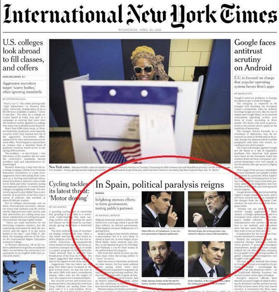 Imagen de la portada de la edición internacional de The New York Times.
