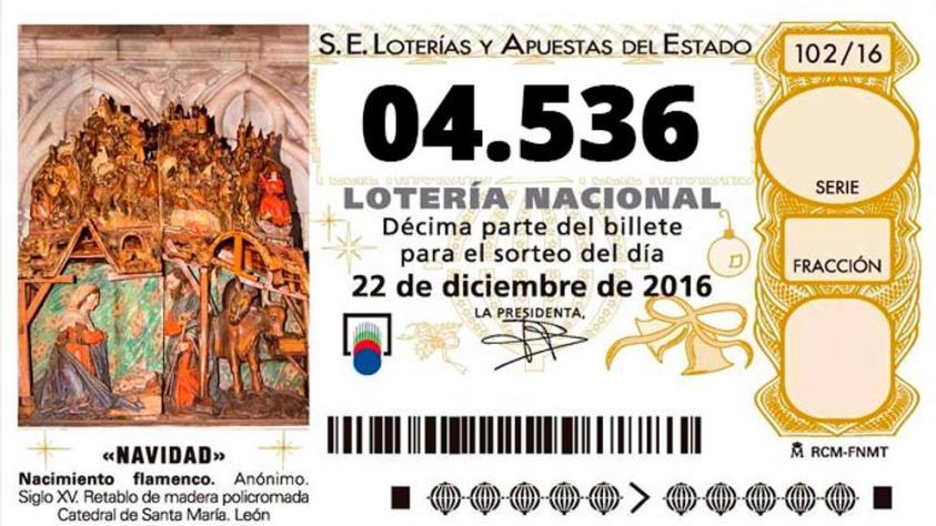 04536, segundo premio de la Lotería de Navidad 2016