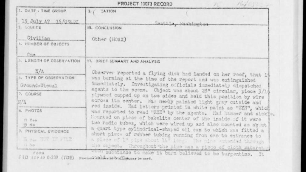 Estados Unidos hace públicos miles de documentos sobre ovnis
