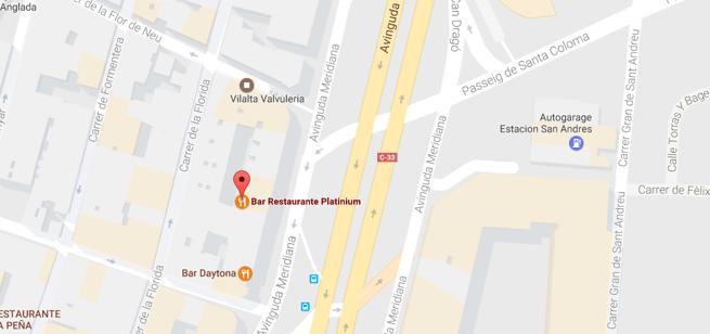 Localización del lugar del tiroteo, en la avenida Meridiana de Barcelona