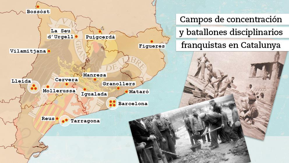 Mapa de los campos de concentración señalados en Catalunya durante el franquismo (Mario Chaparro)