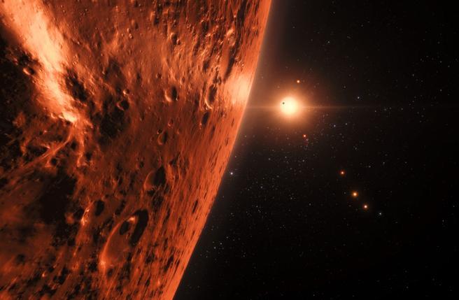 Recreación artística de un exoplaneta del sistema solar TRAPPIST