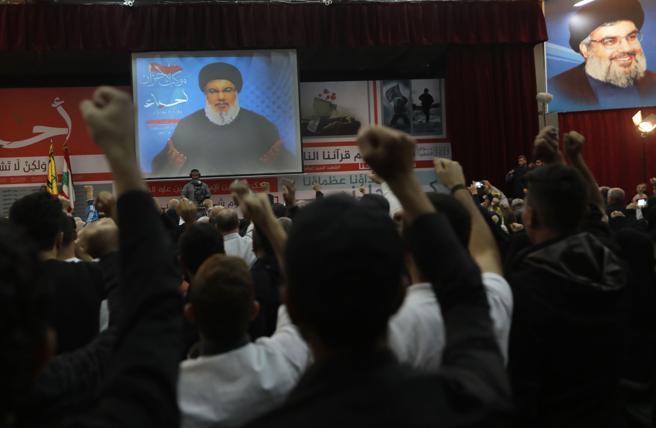 Hassan Nasrala da un discurso por la televisión este viernes
