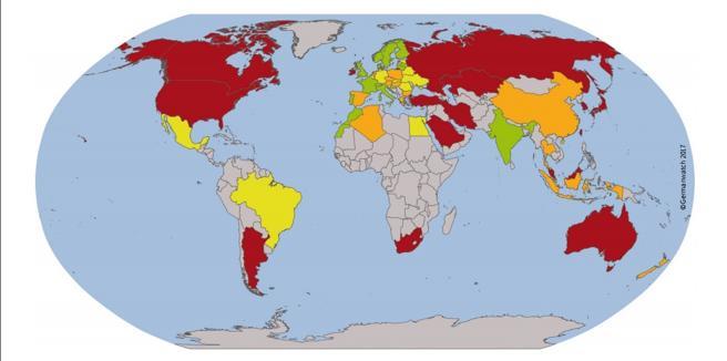 Nivel global de cumplimiento del Acuerdo de París. En rojo, los países con  un nivel de cumplimiento 'muy bajo'; en naranja (España, incluida) los países de nivel 'bajo'; en amarillo, con un grado de cumplimiento 'medio' ; y en verde los que tienen un cumplimiento  'alto'