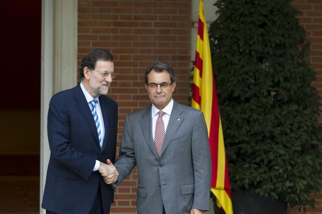 Rajoy y Mas en la reunión en que no hubo acuerdo sobre el pacto fiscal en 2012