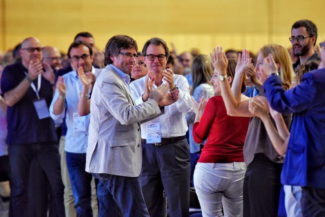 Mas, Puigdemont, Forcadell y Munté durante el primer congreso del PDeCAT