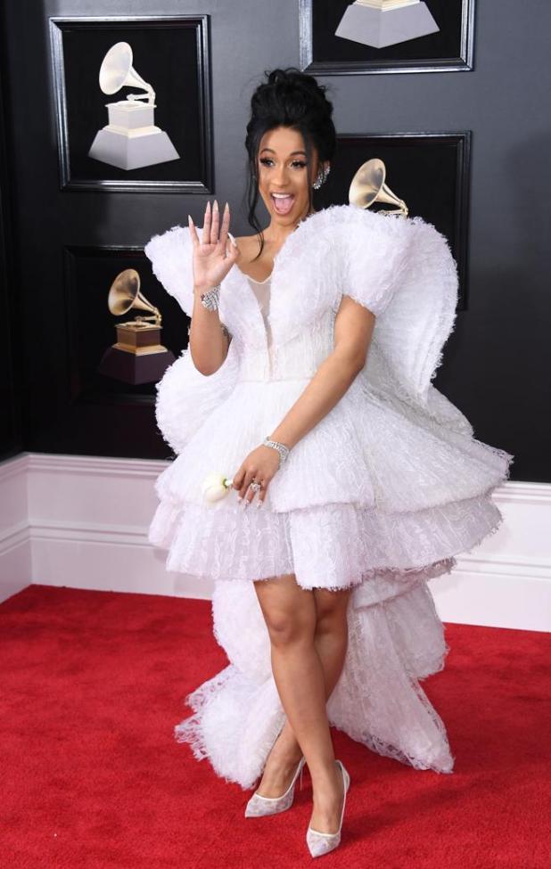 Cardi B en la alfombra roja de los premios Grammys