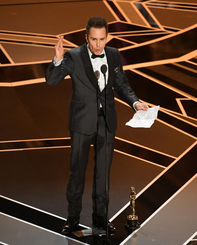 Sam Rockwell pronunciando su discurso en los Oscars 2018