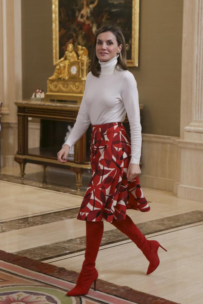 La reina Letizia durante un acto oficial en el palacio de la Zarzuela, en Madrid. Marzo de 2018.