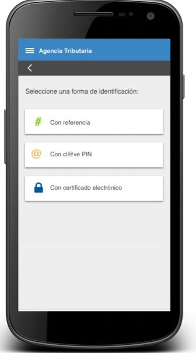 Datos de identificación en la app de la declaración de la renta