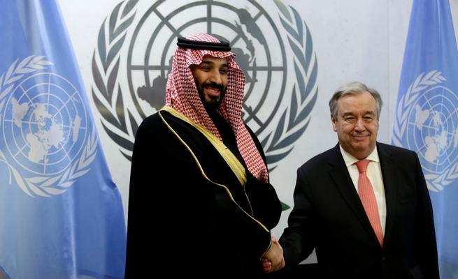 El secretario general de la ONU con el príncipe saudí