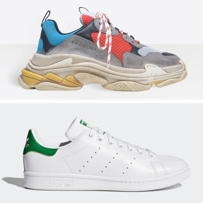 Deportivas 'Triple S' de Balenciaga y el modelo 'Stan smith' de Adidas