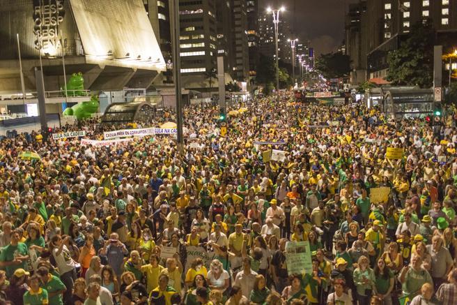 Concentración a favor del encarcelamiento de Lula en Sao Pablo el pasado martes