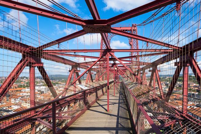 Vista a lo largo del puente de Bizkaia