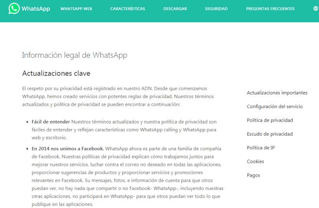 El principio de los términos y servicios de WhatsApp