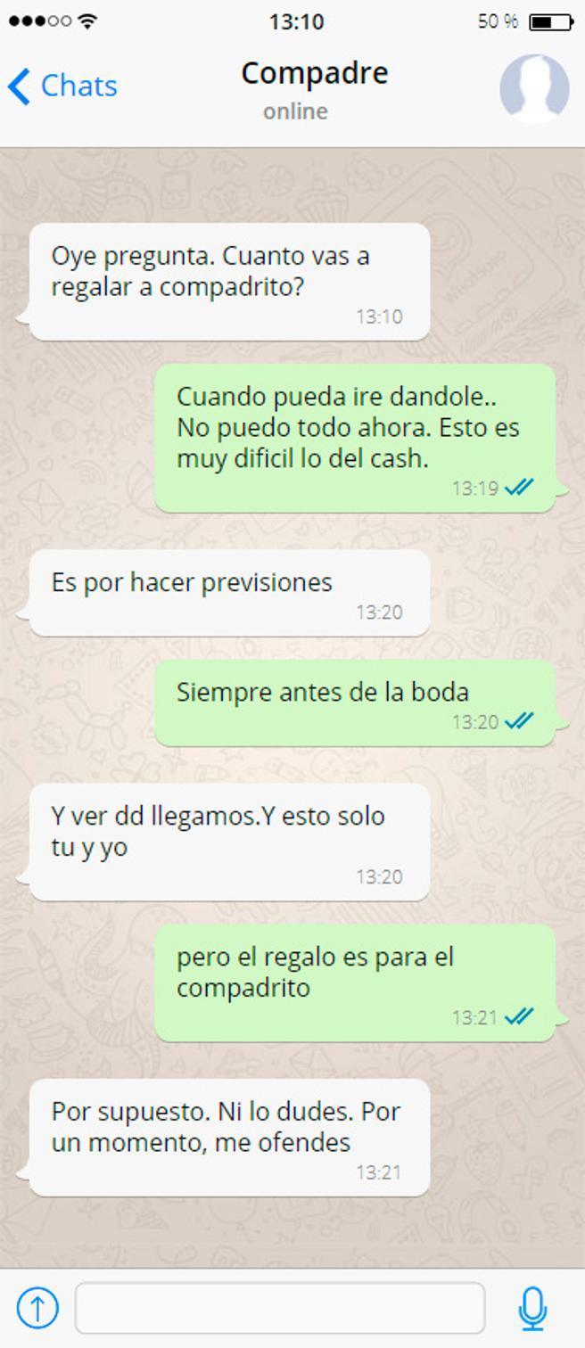 Recreación de la conversación vía Whatsapp entre Carlos Salamanca y el empresario