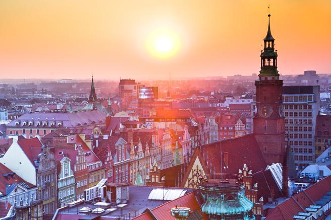 Vista aérea del casco antiguo de Cracovia