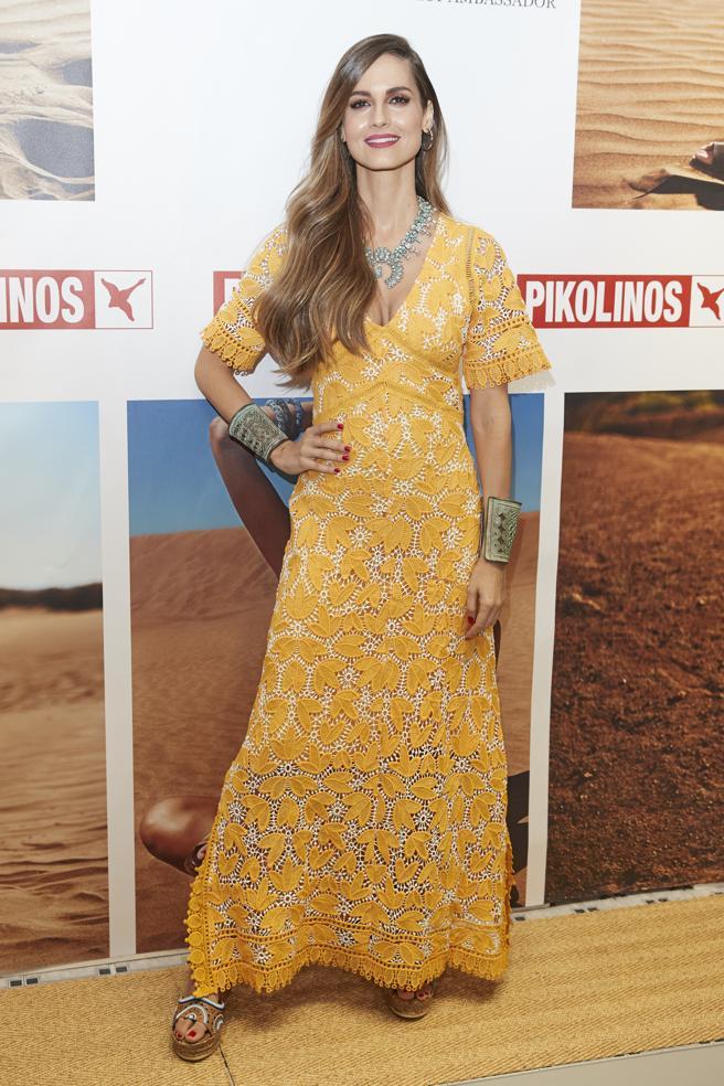 La modelo Ariadne Artiles durante la presentación de la campaña 'Maasai Project' de la firma Pikolinos