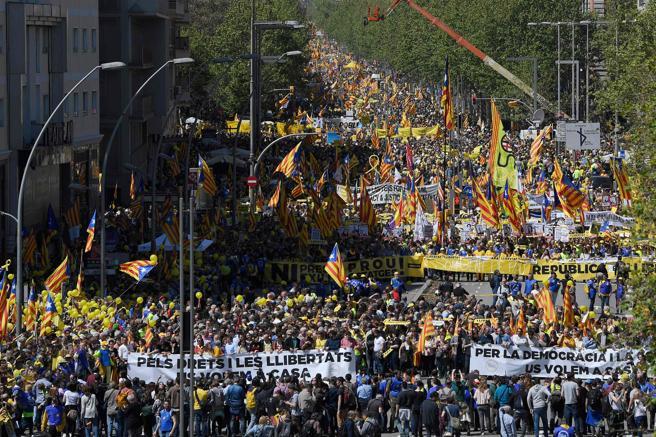 Panorámica de la manifestación en Barcelona